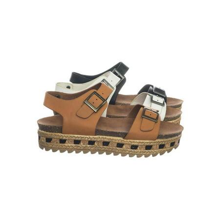 Lacey12 by Bamboo, Tribal Print Molded Footbed Flatform Flat Platform Espadrille Sandal