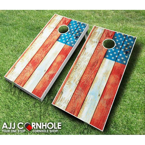 AJJ Cornhole 10 Piece American Flag Distressed Cornhole Set by
