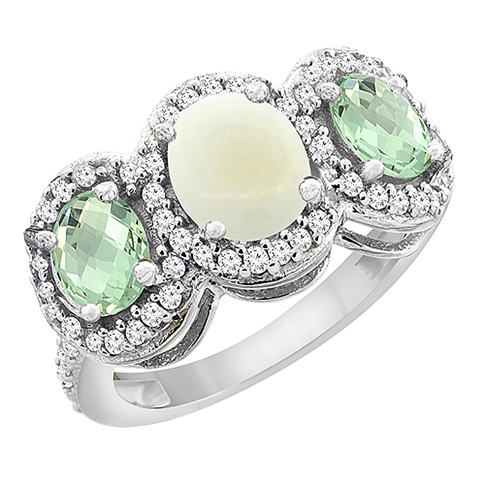 10K White Gold Natural Opal & Green Amethyst 3-Stone Ring Oval Diamond Accent, size 6 by Gabriella Gold