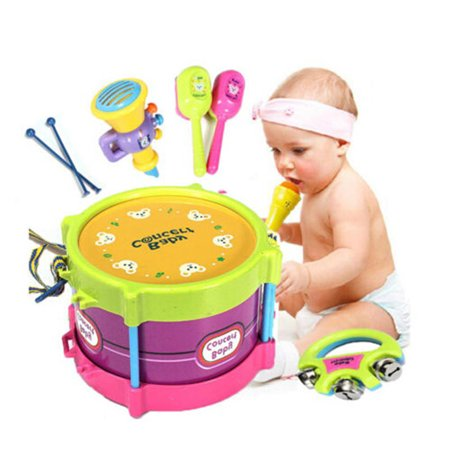 Arzil Baby Concert Toys 5PC New Roll Drum Musical Instruments Band Kit Unisex Colorful Educational Learning and Development Toys Gift for Toddler Infant Newborn Children Kids (Best Musical Instrument For Child To Learn)