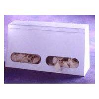 "2-Compartment bulk glove dispenser with lid - 13-1/4"" W X 7""H X 4.5"" D"