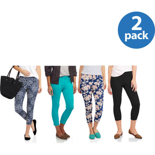 Faded Glory Women's Core Capri Jegging 2 Pack Value Bundle