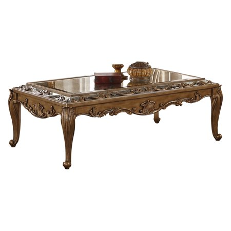 Gold Antique Coffee Table - ACME Orianne Coffee Table in Mirrored and Antique Gold