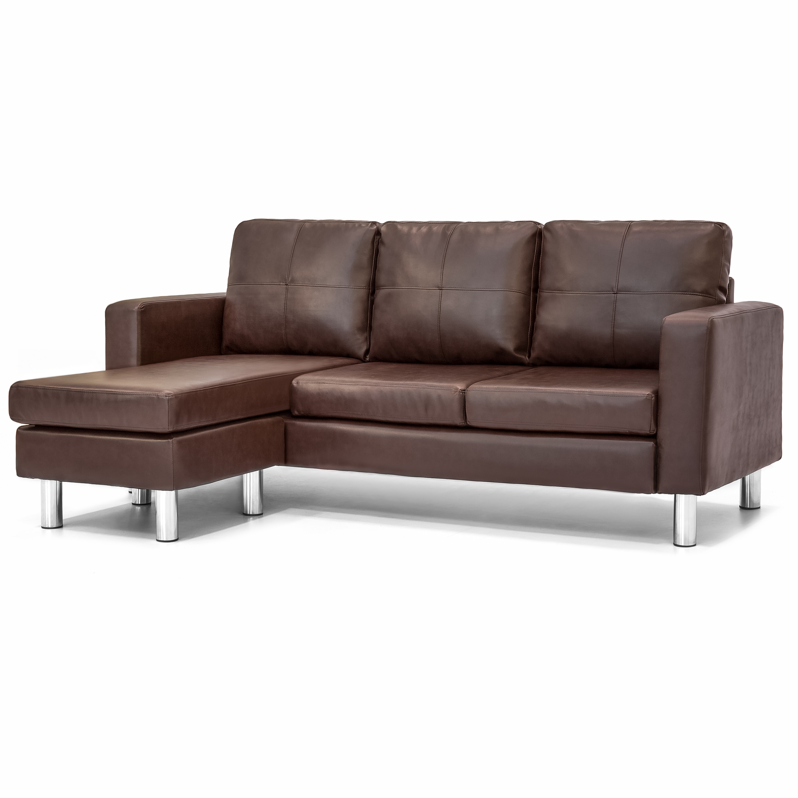 Best Choice Products Leather L-Shape Sectional Sofa Couch w/ Reversible Chaise Ottoman (Brown)