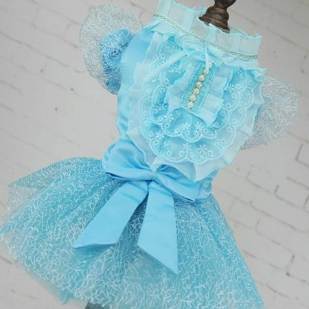 Lace Rhinestone Decorative Summer Dog Dress Comfortable Dog Wedding Dress - image 1 of 3