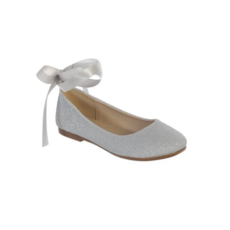 Girls Silver Glitter Satin Ribbon Ankle Ties Ballerina (Ankle Tie Shoes)