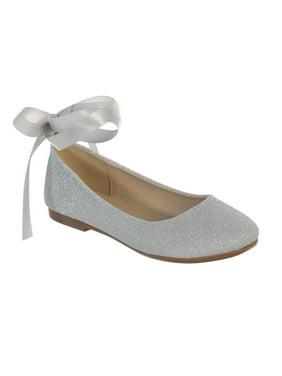 Girls Silver Glitter Satin Ribbon Ankle Ties Ballerina Shoes