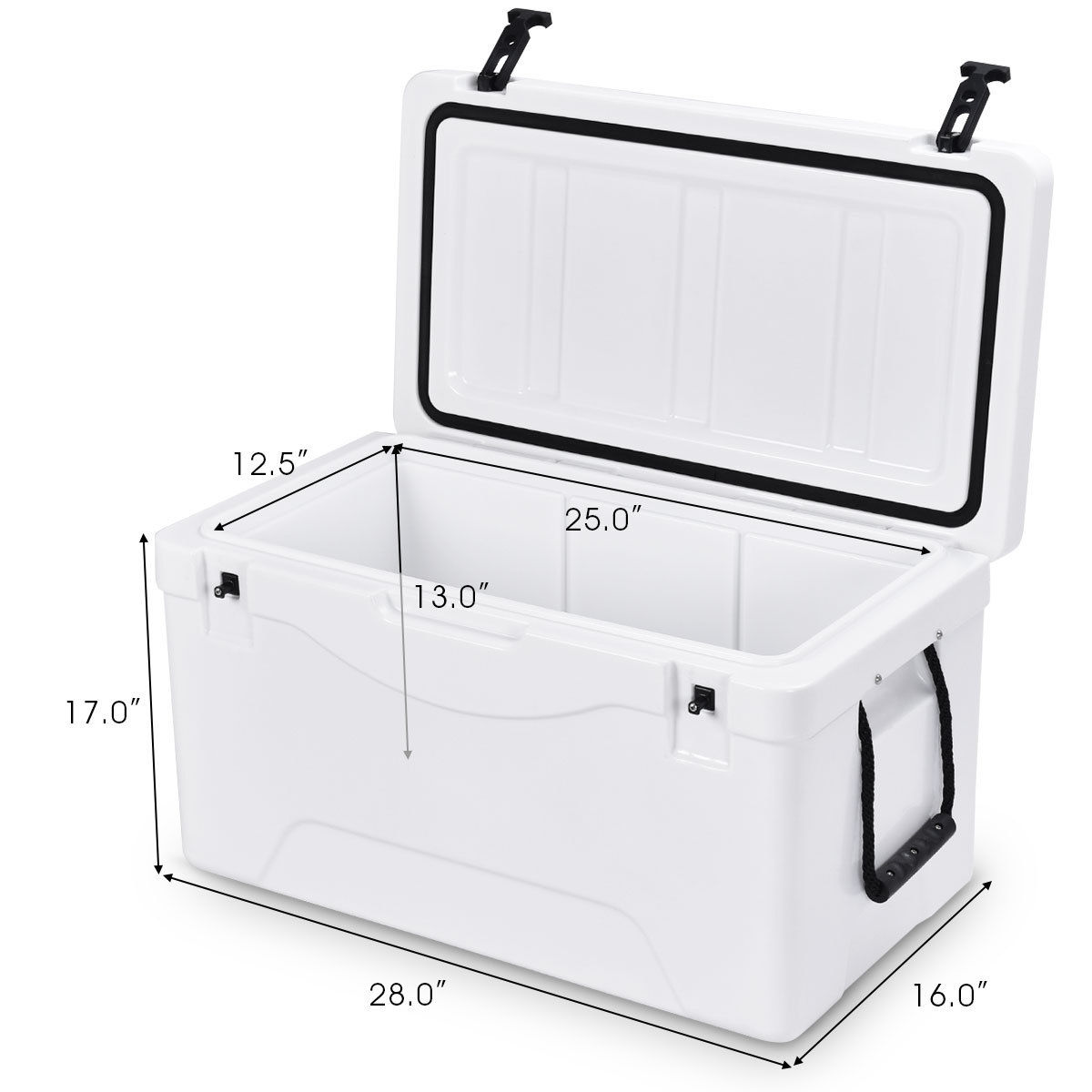 Heavy Duty Outdoor Insulated Fishing Hunting Cooler Ice Chest 64 Quart White - image 1 de 10