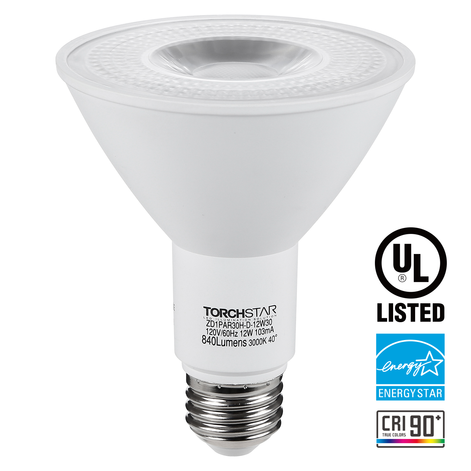 Dimmable 12W LED Flood Light Bulbs, LED PAR30 Light Bulb, Long Neck Spotlight, 3000K Warm White