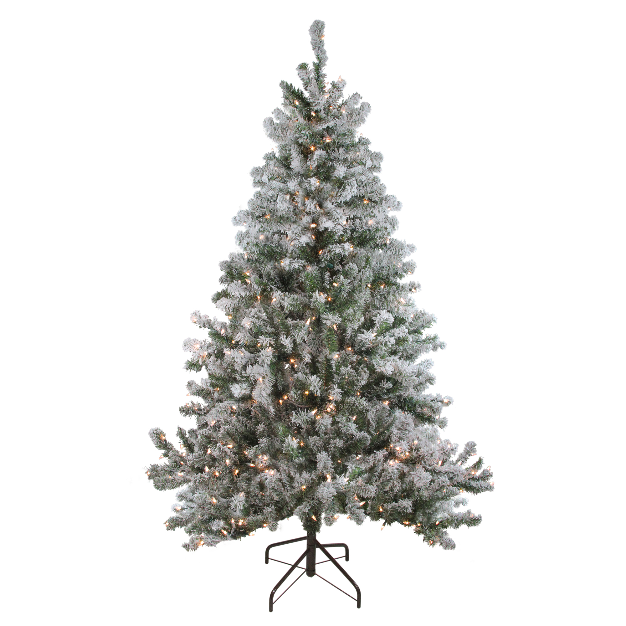 Pre Lit Flocked Artificial Christmas Trees: 7' Pre-Lit Flocked Balsam Pine Artificial Christmas Tree