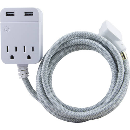 GE Pro Designer Extension Cord, 10', 2 Outlets + 2 USB, 2.4A, Gray/White