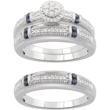 Forever Bride Round Diamond and Blue Sapphire Sterling Silver Wedding Trio -