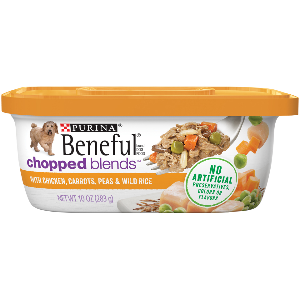 Purina Beneful Chopped Blends With Chicken, Carrots, Peas & Wild Rice Wet Dog Food, 10-Oz, Case of 8