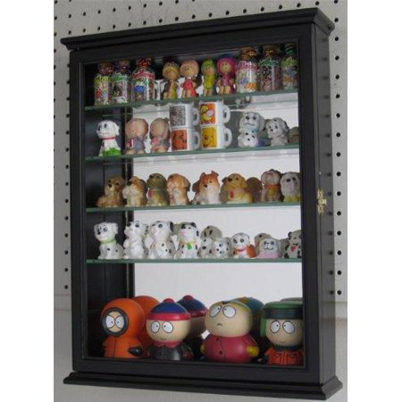 Shelf Curio Case - Wall Curio Cabinet With Glass Shelves and Door, Mirrored Background SC06B (Black)