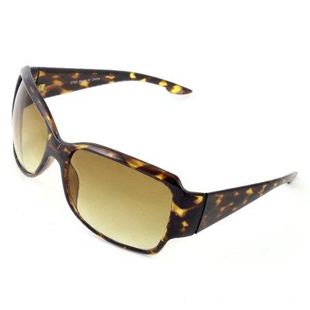Unique Bargains Leopard Print Brown Frame Single Bridge Rectangle Lens Sunglasses for (Leopard Sunglasses)
