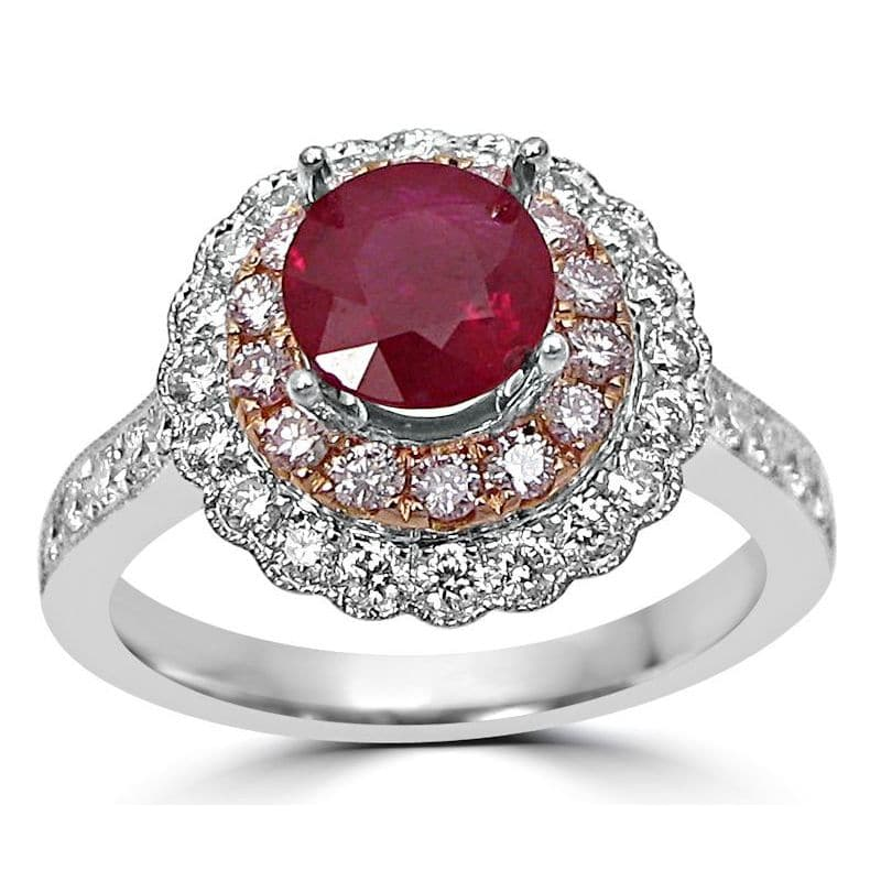 Noori Collection Noori 14k Two-tone Gold 1ct TGW Ruby and 3/5ct TDW Diamond Engagement Ring (G-H, SI1-SI2) - N/A