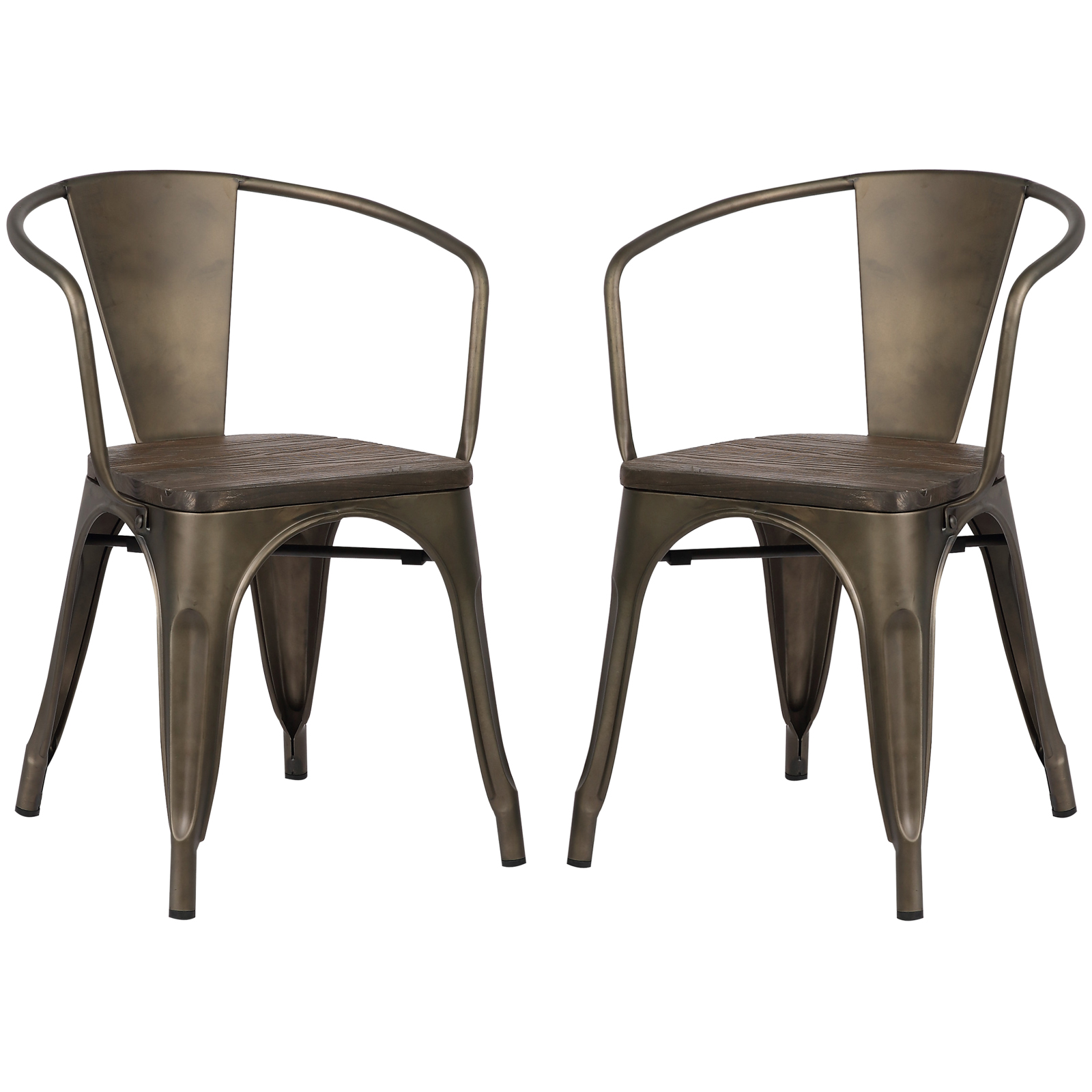Poly and Bark Trattoria Arm Chair with Elm Wood Seat in Bronze (Set of 2)