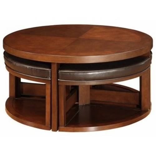 Wondrous Weston Home Brussel Ii Round Brown Cherry Wood Coffee Table With 4 Ottomans Caraccident5 Cool Chair Designs And Ideas Caraccident5Info