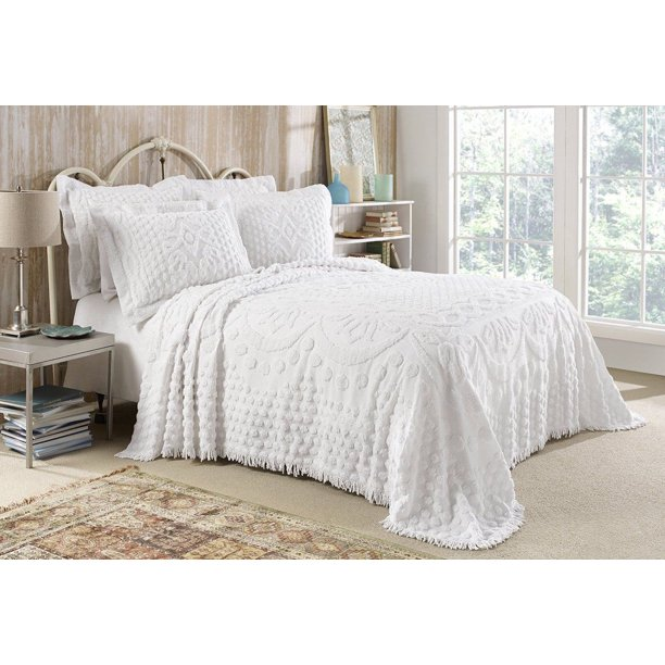 Kingston Tufted Chenille Bedspread And Pillow Sham Set All Cotton