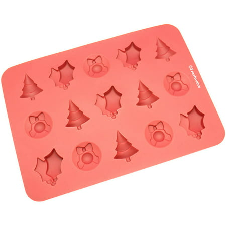 Christmas Jello Mold (Freshware 15-Cavity Christmas Silicone Mold for Chocolate, Candy, Gummy and Jelly,)
