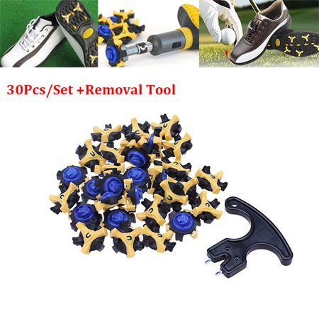 30PCS Golf Shoe Spikes Replacement Cleat Fast Twist Tri-Lok Removal For FootJoy, Navy Blue