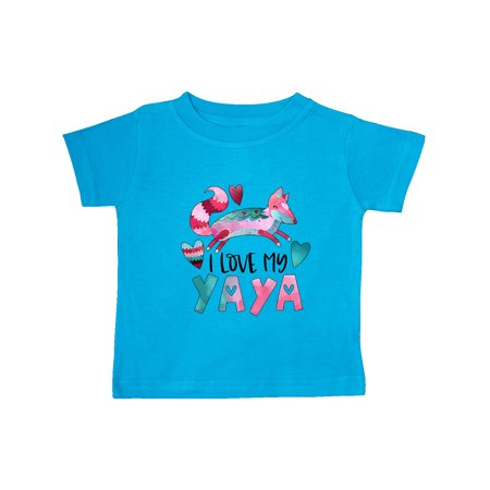 I Love My Yaya Pink and Blue Fox with Hearts Baby T-Shirt