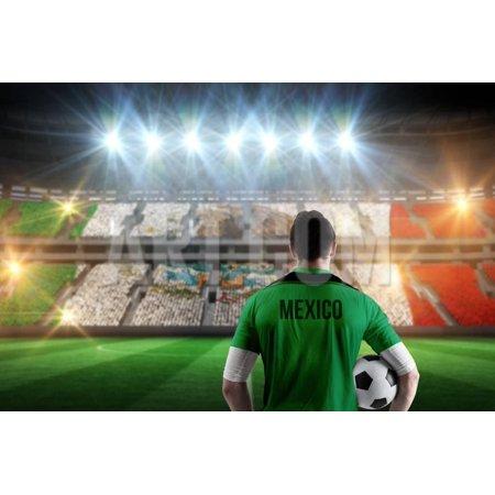 Stadium Full Color (Mexico Football Player Holding Ball against Stadium Full of Mexico Football Fans Print Wall Art By Wavebreak Media)