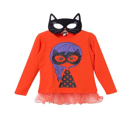 Bossini Kids Toddler Girls Super hero Tee Eye Mask Halloween Costume Size 3T -16