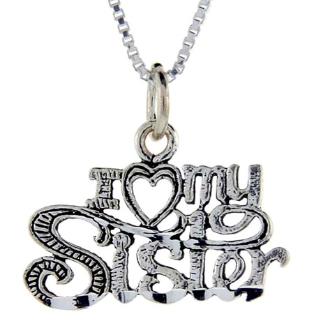Sterling Silver I Love My Sister Word Pendant  1 Inch Wide