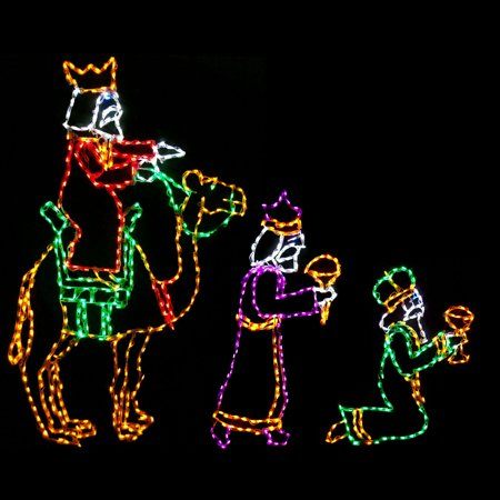 Outdoor led wisemen lighted display set of 3 for Baby jesus outdoor christmas decoration