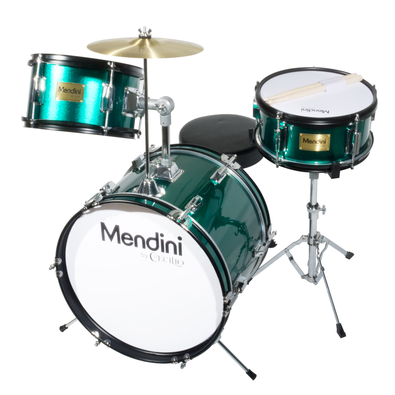 """Mendini by Cecilio 16"""" 3-Piece Kids / Junior Drum Set with Adjustable Throne, Cymbal, Pedal & Drumsticks, Metallic Green, MJDS-3-GN"""