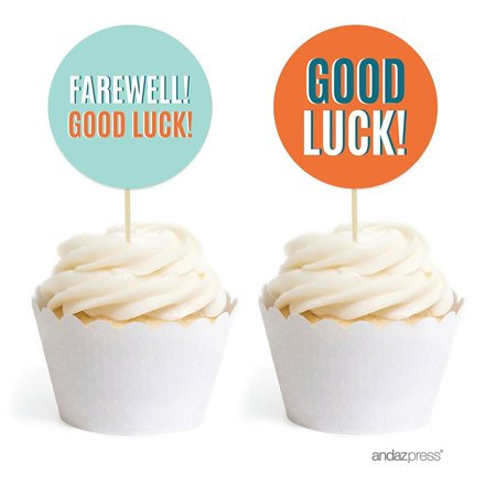 Farewell Retirement Party Decorations, Farewell! Good Luck!, Cupcake Toppers DIY Kit, 20-Pack