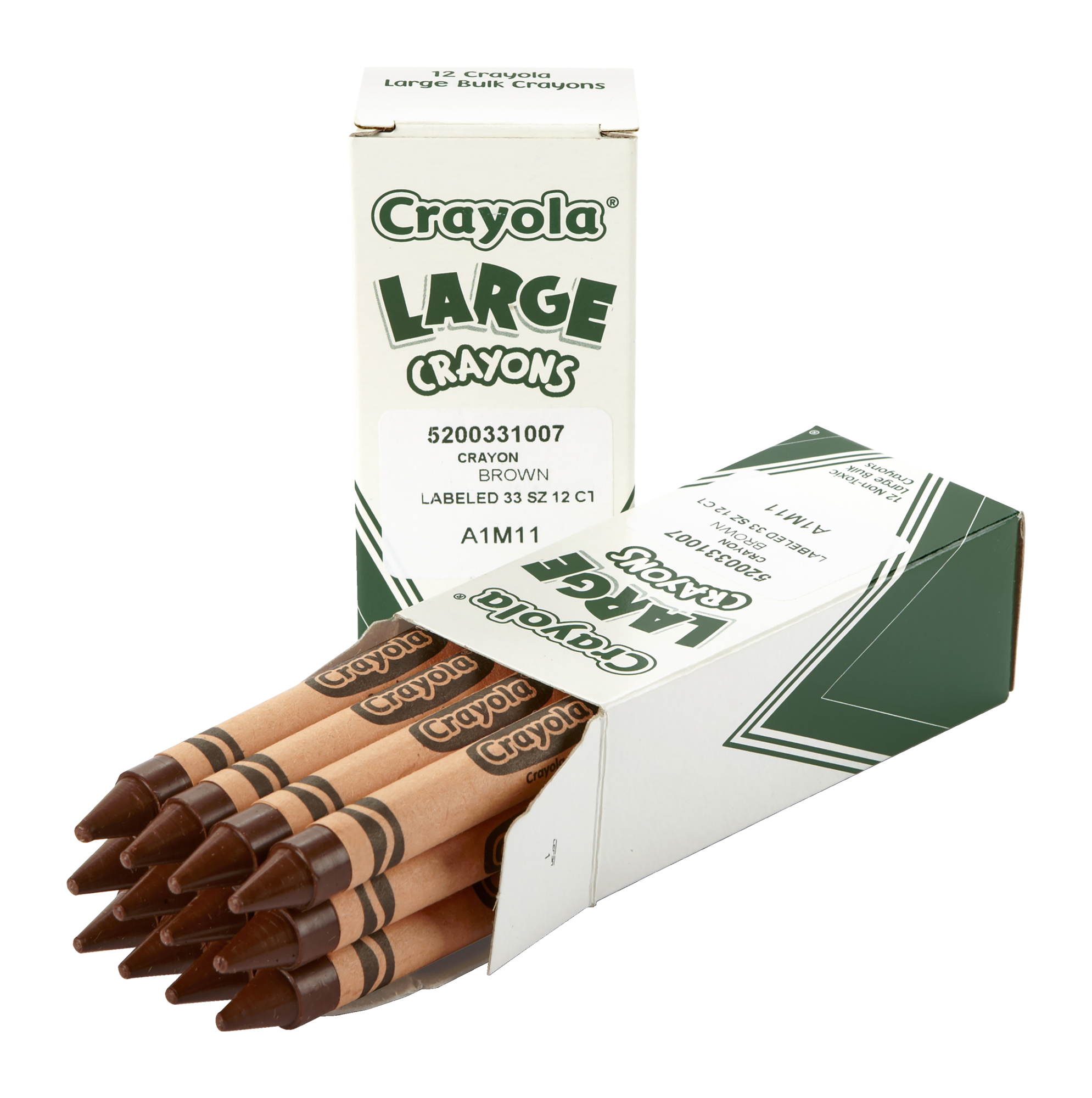 Crayola Large Non-Toxic Single Colors Crayon Refill, 7/16 X 4 In, Brown, 2