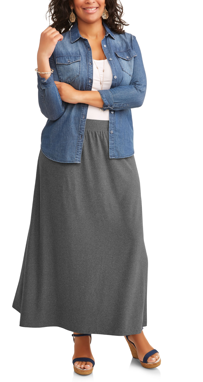 f3a7d3af4e7fc Terra   Sky - Women s Plus Knit Maxi Skirt - Walmart.com