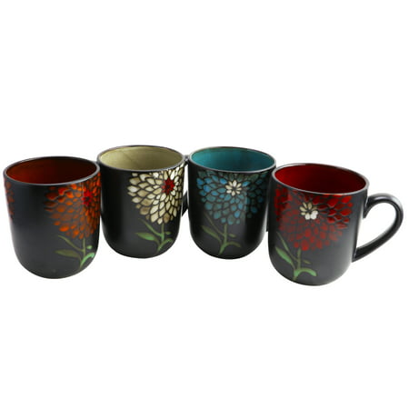 Gibson Home Gardenia Cafe 4 Piece 16 oz. Assorted Mug (Red Cafe Mug)