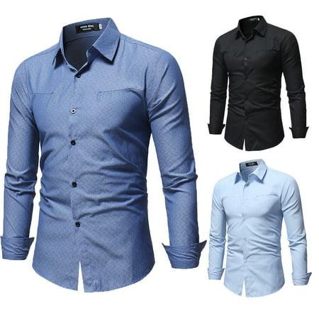 Men Stylish Shirts Casual Formal Slim Fit Long Sleeve Luxury Tee Shirt Top (Collar Luxury Dress Shirt)