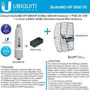 Ubiquiti Bullet M2 HP 600mW Outdoor BM2HP + POE-24 12W +2.4GHz 20dBi Grid Antenna