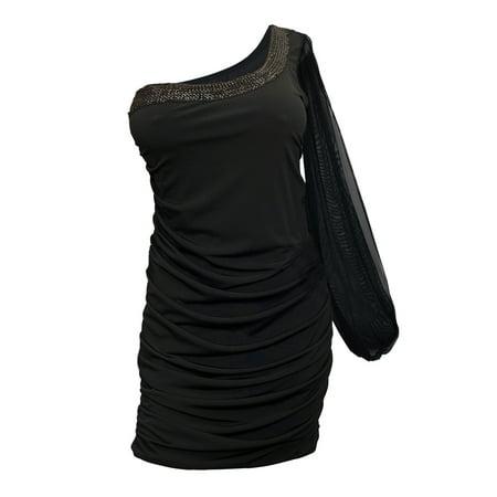 Plus Size Sheer Sleeve One Shoulder Dress Black Walmart