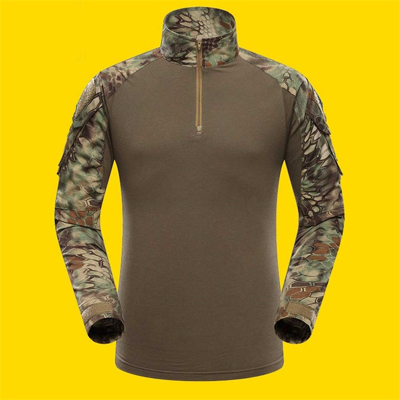 Men Camouflage Hunting Clothing, Combat Training Clothes, Long Sleeve Frog T-Shirts Color:Green Asian Size:M by