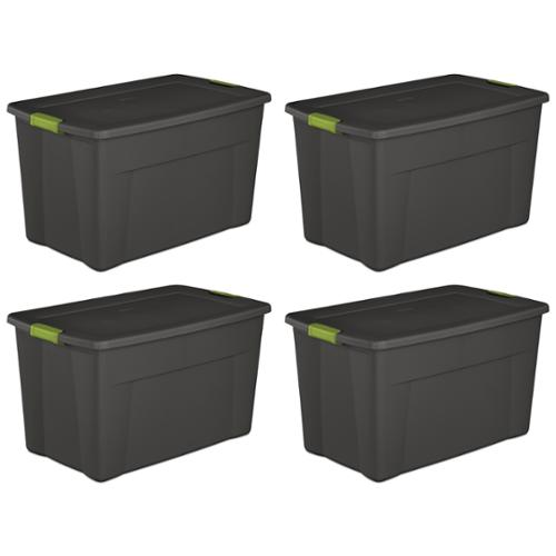 Set of 4) Sterilite 19451004 35 Gallon Storage Tote Box W/Latching Container Lid