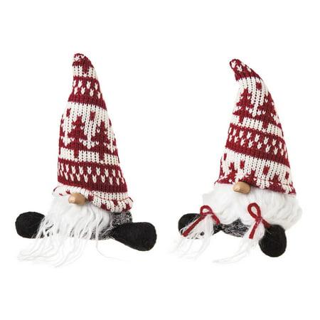 Cypress Home Plush Little Sitting Santa, Set of 2