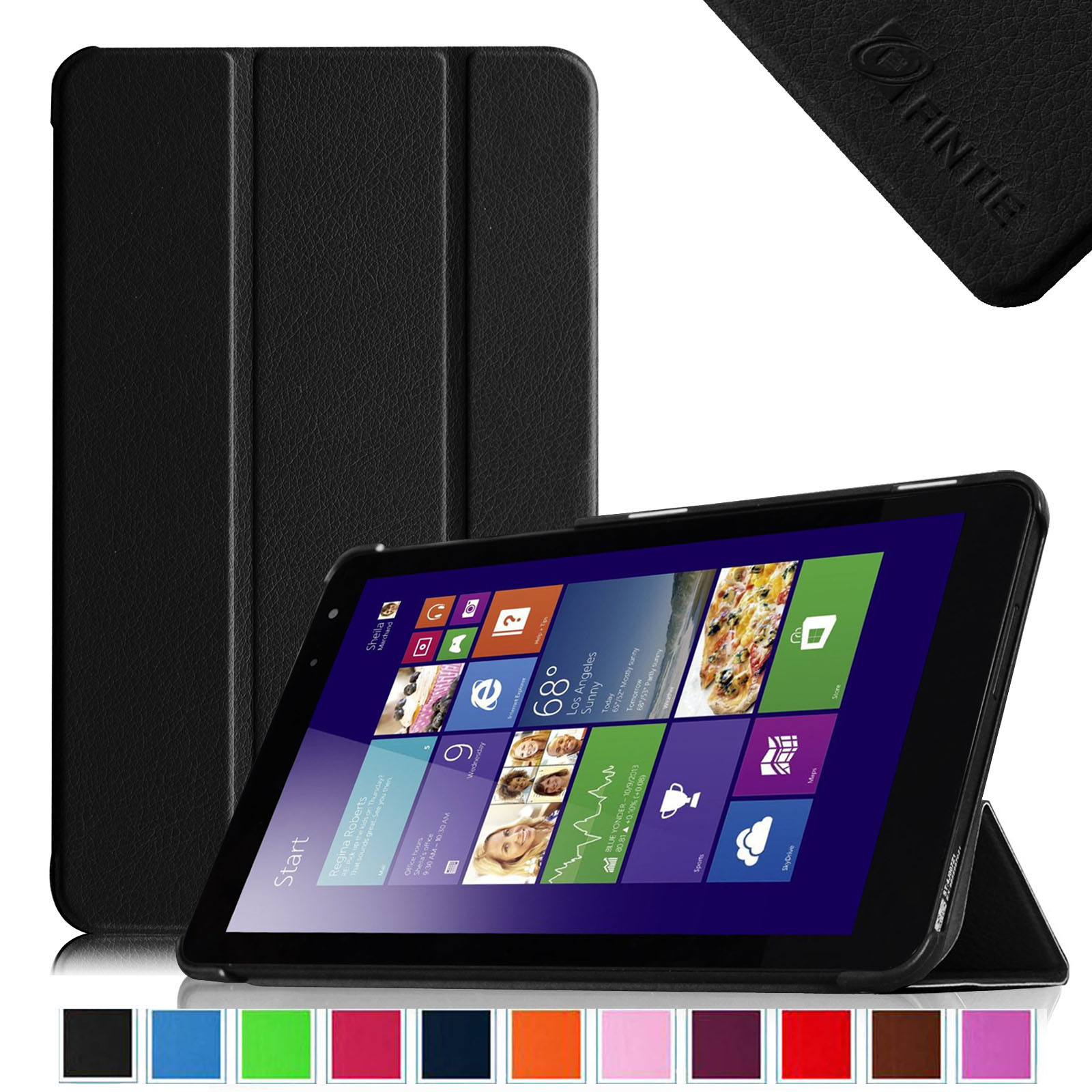 Fintie New Dell Venue 8 (2014 Version) / Dell Venue 8 Pro (Windows 8.1) 8-Inch Tablet Slim Shell Case Cover, Black