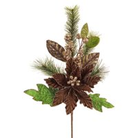 """Pack of 4 Polyester Brown Poinsettia and Pine Spray 22"""""""