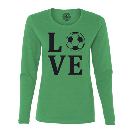 Custom Green Soccer Jerseys (Love Soccer Sports Jersey Womens Long Sleeve T Shirt)