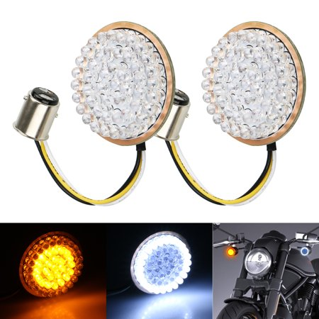 TSV 2inch 1157 LED White/Amber Front Turn Signals LED Lights Panel Compatible with Harley Dyna Street Glide Road (Menthol Light King)