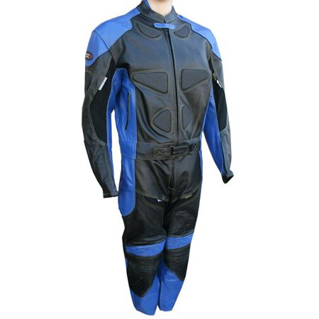 Perrini 2 PC Blue Spine Protector Cowhide Motorcycle Leather Suit Race Suit with Night Visibility Stitching](Cow Suit)