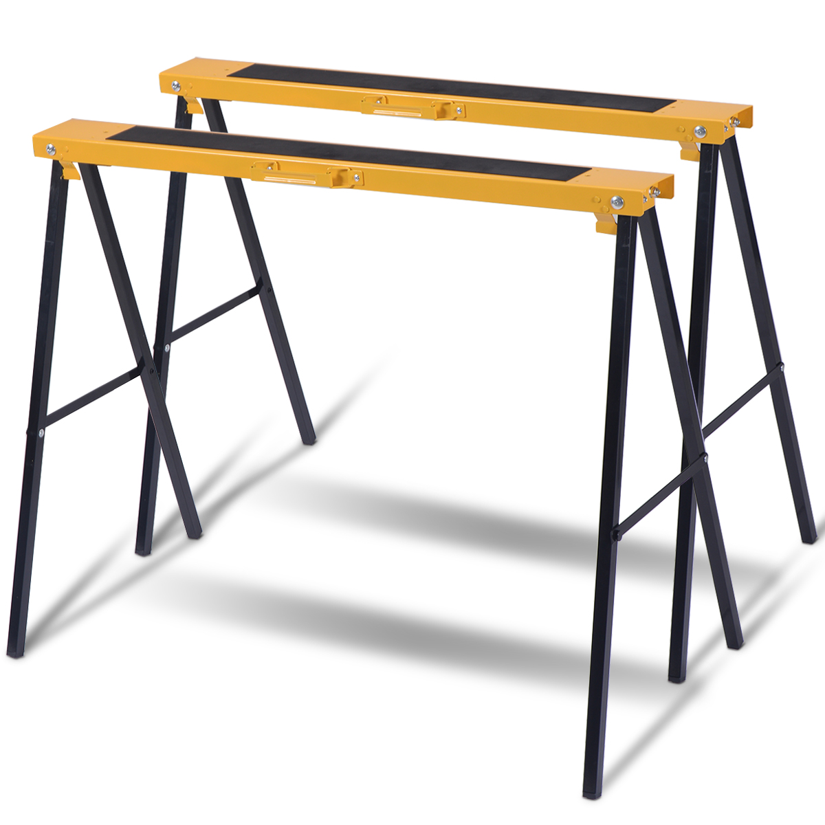Pair of 2 Pack Heavy Duty Saw Horse Steel Folding Legs Sawhorse by