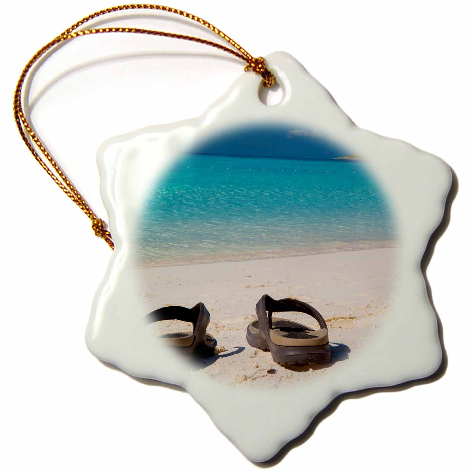 3dRose Flip flops beach with turquoise water beyond, Half moon Cay, Bahamas - Snowflake Ornament, 3-inch