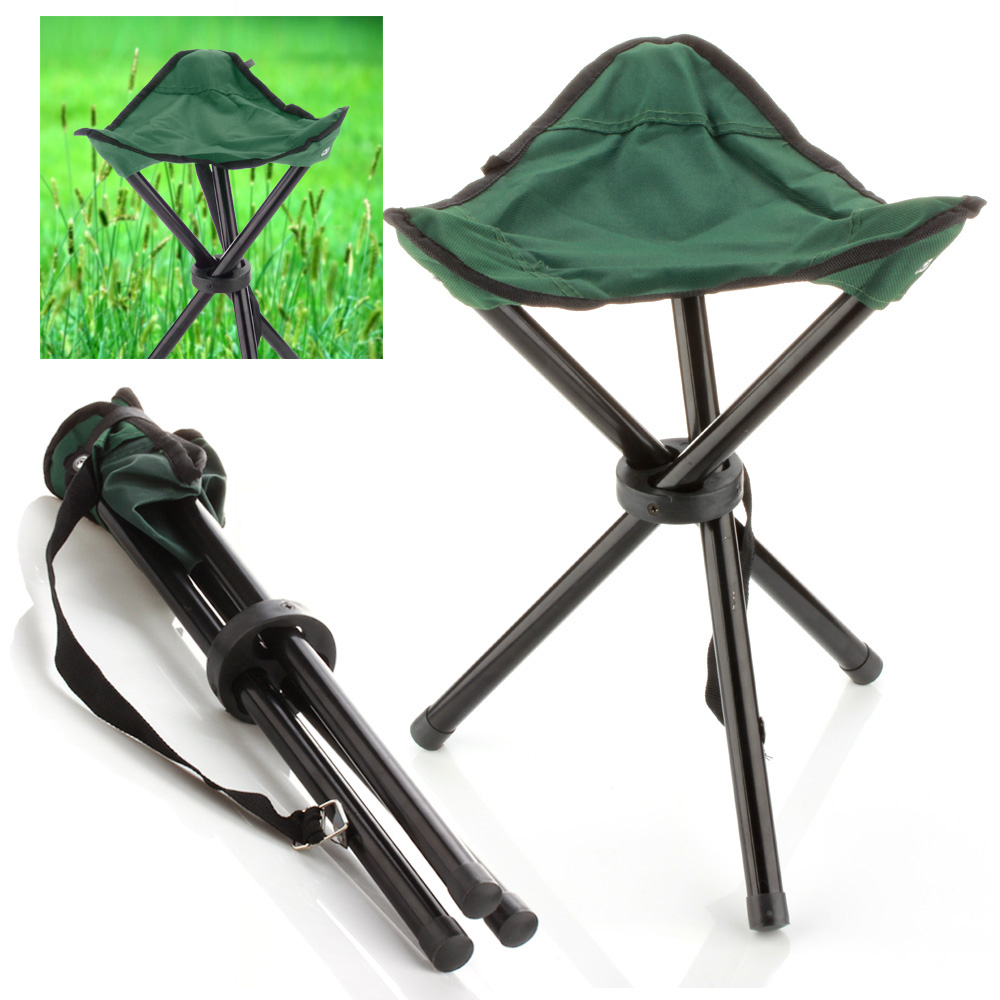 Camping Folding Stool Green Portable 3 Legs Chair Tripod