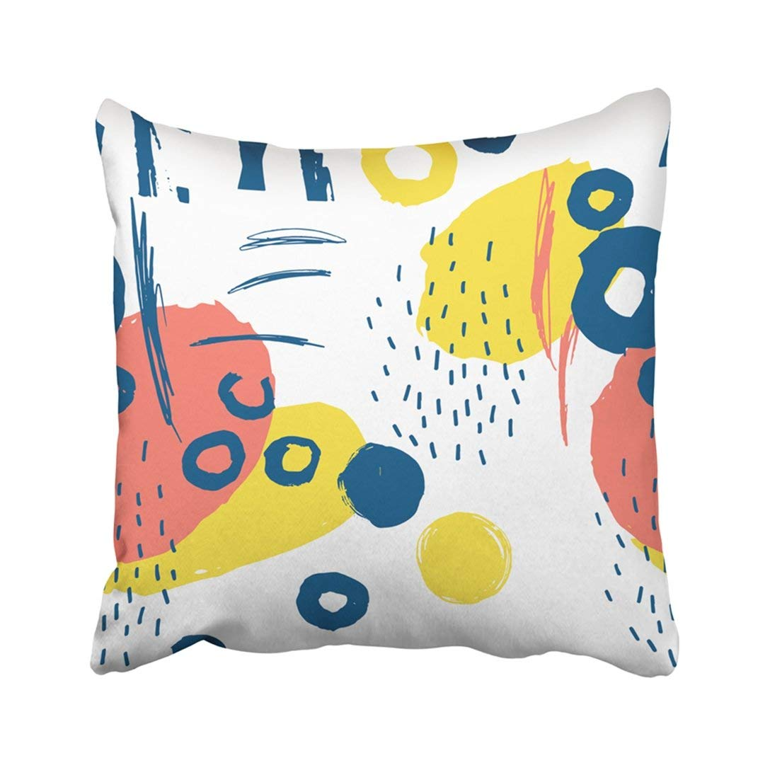 ARTJIA Beige Kids Creative With Made Ink Blue Tribal Doodle Scandinavian Brush Cartoon Pillowcase Throw Pillow Cover Case 18x18 inches